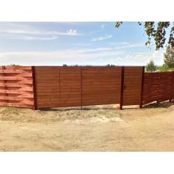 Распашные металлические ворота и калитка заполнение имитация бруса