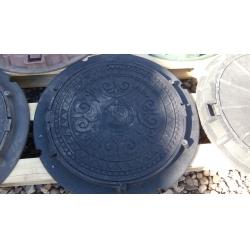 Люк полимер-песчаный для колодца/септика (А-05) 560/720 Черный