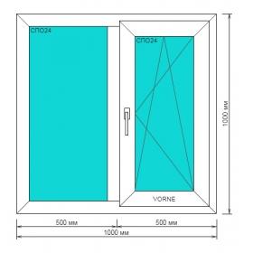 Окно ПВХ 1000*1000мм, Goodwin 3-камерный профиль, правая створка поворотно-откидная Дачный вариант!