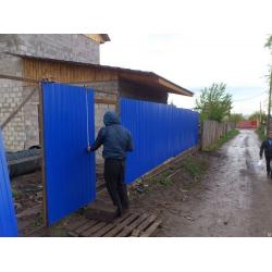 """Забор из профлиста цвет  """"Ультрамарин"""" под """"ключ"""""""