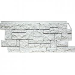 Фасадная панель FineBer (Цокольный сайдинг) Дикий Камень Мелованный Белый