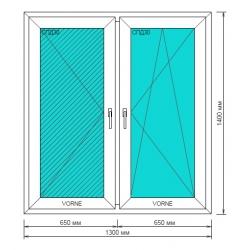 Окно ПВХ 1300*1400мм, Goodwin 3-камерный профиль, обе створки поворотные, правая поворотно-откидная