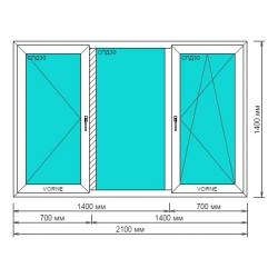 Окно ПВХ 2100*1400мм, Goodwin 3-камерный профиль, Крайние створки поворотно-откидные
