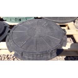 Люк полимер-песчаный для колодца/септика (А-15) 570/730 Черный