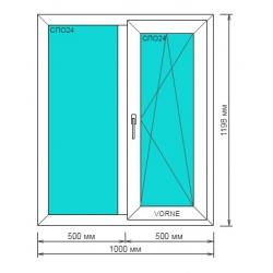 Окно ПВХ 1000*1200мм, Goodwin 3-камерный профиль, правая створка поворотно-откидная Дачный вариант!